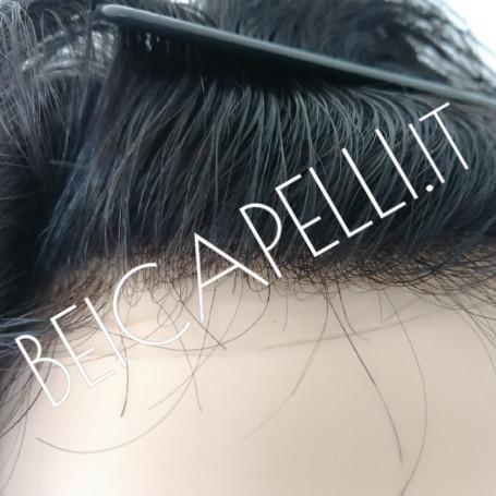 Colore 1B castano scuro protesi capelli uomo pellicola skin